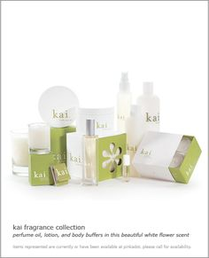 kai fragrance collection, perfume oil, lotion and body buffers