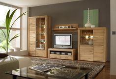 ETNA Wohnwand 4-tlg. Anbauwand Eiche massiv lackiert (Wohnen) - Möbel günstig kaufen