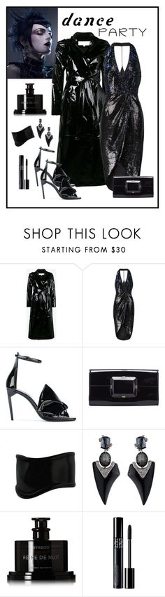"""Halston Heritage Blue & Black Sequin Wrap Dress Look"" by romaboots-1 ❤ liked on Polyvore featuring Skiim, Halston Heritage, Yves Saint Laurent, Gucci, Tiffany & Co., Alexis Bittar, Byredo and Christian Dior"