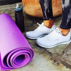 Grab your yoga mat, water & a pair of Skechers Flex Appeal for a fun workout!
