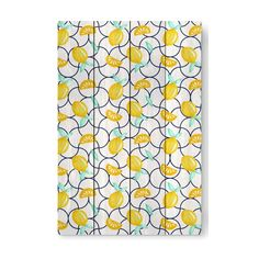 SICILY WOOD PRINT  Seamless summer pattern, sicilian lemons on vintage tiles. From watercolor hand painted by DesigndN