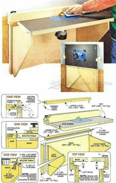 Wall-Mounted Router Table Plans - Modify for French cleat system Workshop Storage, Diy Workshop, Garage Workshop, Wood Router Table, Router Table Plans, Woodworking Guide, Router Woodworking, Woodworking Projects, Dremel Router