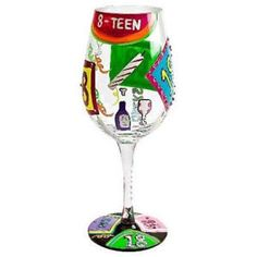 Lolita Wine Glass - 18th:£17.45- FREE DELIVERY at The Fabulous Gift Store