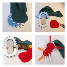 Die Geschichte vom kleinen grünen Monster – oder – Ich war eine Tennissocke This is the story of the little green stocking monster or it could become a crocodile, or a little green dragon. Sock Puppets, Hand Puppets, Finger Puppets, Diy And Crafts, Crafts For Kids, Arts And Crafts, Green Stockings, Puppet Crafts, Sock Toys