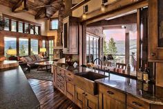 Log cabin kitchen and living room