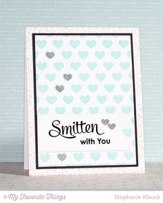 Damask Background, Smitten with You, Pierced Fishtail Flag STAX Die-namics, Tag Builder Blueprints 3 Die-namics, Staggered Hearts Stencil - Stephanie Klauck #mftstamps