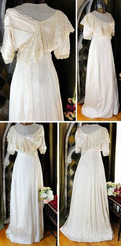 Dress, Patt, Portland, OR, late 19th century. Two layers of silk satin with light cream Brussels point de gaze lace, synthetic white pearls, and beading. Boned corset inside. Hook and eye closure down the back and across the shoulder. Vintage Blessings, eBay