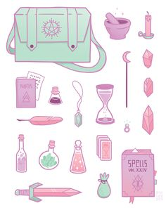 """breelundberg: """"Magic essentials! This was part of a series of illustrations I did for an annual group show with two friends at work (but still haven't gotten around to sharing, oops. More on that later.) """""""