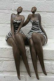 Two graces.by Hans&Bernadette te Wierik. Ceramic Figures, Ceramic Art, African American Art, African Art, Modern Sculpture, Sculpture Art, Sculptures Céramiques, Ceramic Sculptures, Fat Women