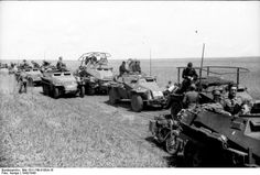 German mounted unit, using various types of military vehicles.Russia 1942