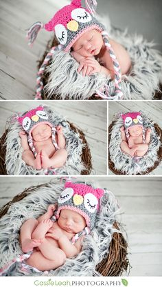 Precious baby girl in an owl's nest  @Jess Pearl Liu Minton - if I have a girl I will need you to make this hat - CUTE