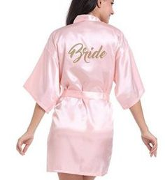 Gold Stamp'Bride' On the Back Silk Satin Wedding Bride Robe Sexy Night Robe Fashion Kimono Robe Summer Dressing Gown For Women Bridesmaids And Mother Of The Bride, Grey Bridesmaids, Bath Robes For Women, Wedding Kimono, Bridal Party Robes, Bridal Gown, Bridesmaid Robes, Maid Of Honor, Lounge Wear