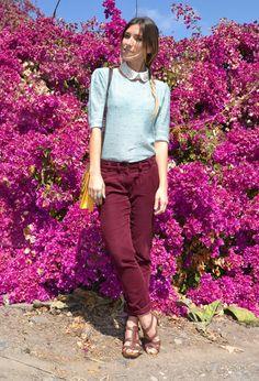 MINT & BURGUNDY #outfit , Zara in Jewelry, Primark in Sweaters, Primark in Pants, Marypaz in Heels / Wedges