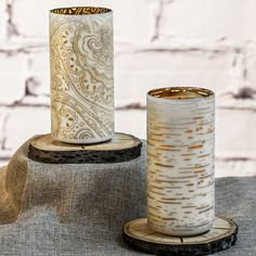 "7"" Frosted Glass LED Luminary Candles by Candle Impressions. Love the Birch and Indochine designs."