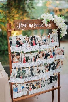 Polaroid Guest Message Wedding Decor / http://www.deerpearlflowers.com/creative-polaroid-wedding-ideas/ #weddingdecoration