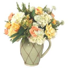 "Create a lush centerpiece or charming vignette with this lovely mixed faux floral arrangement, showcasing beautiful blooms nestled in a ceramic pitcher with rope overlay.  Product: Faux floral arrangement Construction Material: Silk, polyester, ceramic and ropeColor: Yellow, peach, green and creamFeatures:  Includes faux mixed florals HandmadeRope overlay Dimensions: 23"" H x 20"" Diameter"