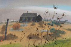 NICHOLAS HELY HUTCHINSON  Prospect Cottage - Dungeness (Derek Jarman's House) Oil on board 8 x 12 ins