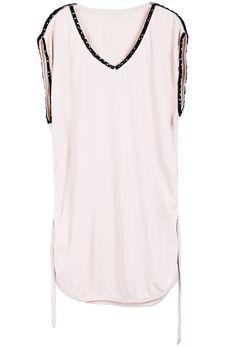 Vestido cuello pico perlas cinto-Nude EUR€23.71