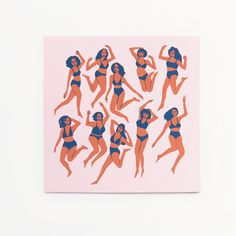 "Hand pulled screen print featuring dancing girls on light pink paper. Heavyweight archival paper.Measures 9"" x 9"". Signed and numbered in bottom corners, edition of 50. Print will be shipped packed flat."