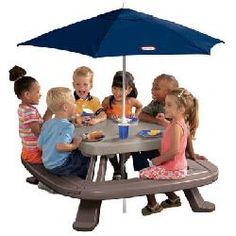 Little Tikes Fold n Store Picnic Table/Umbrella Combo Pack