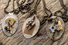 cool necklaces made out of flattened spoons and metal pieces