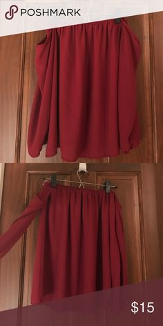 Long sleeve off the shoulder shirt Long sleeve maroon off the shoulder shirt Entro Tops Tees - Long Sleeve