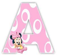 Alfabeto de Minnie Bebe con fondo rosa.