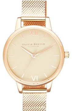Can't get over this chic rose gold watch! An elegant mesh metal strap makes this beauty easy to pair all year long.