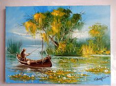 Scenery with fisherman in the delta of Romania by Ion Voineagu Knife Painting, Oil Painting On Canvas, Canvas Art, Original Art, Original Paintings, Impressionism Art, Romania, Art Inspo, Buy Art