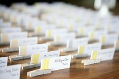 handmade wedding place cards with clothespins