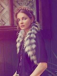 Free People Faux Fur Oversized Collar