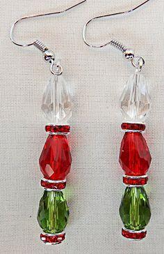 Christmas earrings, Christmas jewelry, acrylic beads, red crystal spacers, red acrylic, green acrylic, clear acrylic, dangle earrings