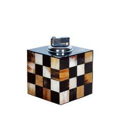 #holiday #gift #horn #lighter #decor #huntingseason #HarpersBazaar  ShopBazaar Hunting Season Brown Checker Horn Table Lighter MAIN