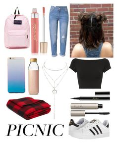 """""""picnic"""" by kjewelstar ❤ liked on Polyvore featuring Helmut Lang, WithChic, adidas, Ilia, Guerlain, Charlotte Russe, Jane Iredale, JanSport, Woolrich and Soma"""