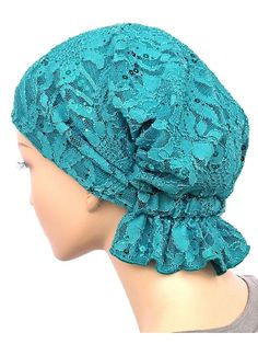 Turban Plus Abbey Cap closeouts Chemo Caps Cancer Hats For Women - Lace Sequ. - Turban Plus Abbey Cap closeouts Chemo Caps Cancer Hats For Women – Lace Sequin Turquoise (Stretch Lace) – Chemo Caps Pattern, Scrub Hat Patterns, Chemo Beanies, Knitted Hats, Crochet Hats, Head Scarf Tying, Mode Hijab, Scrub Hats, Stretch Lace