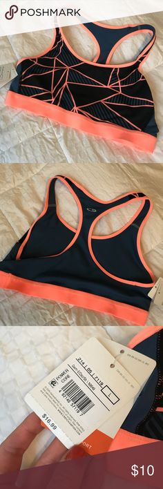 NWT Champion sports bra in navy and neon peach NWT Vivid neon peach and navy sports bra from Champion! Flawless and never worn. Size L. Fits more like a S/M I thought. MAKE AN OFFER! 🍑 Champion Intimates & Sleepwear