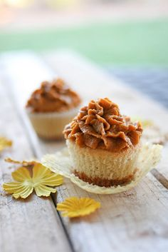 pumpkin pie cupcakes with graham cracker bottoms.