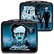 Edgar Allan Poe Lunch Box - http://lopso.com/interests/lunch-boxes/edgar-allan-poe-lunch-box/ -   Nevermore will your lunch be lonely! Horror and suspense writer Edgar Allan Poe  on a lunch box! Illustrated with references to his stories and poems. Tote includes a vinyl key chain featuring Poes face! Nevermore will your lunch be lonely when you let...