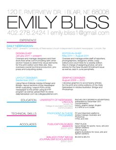 resume by emily bliss via behance - Pr Resume