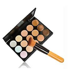 Leiothrix 15 Color Concealer Foundation Pallet  Versatile Brush for Women and Girls On any Occassion * Check out the image by visiting the link.