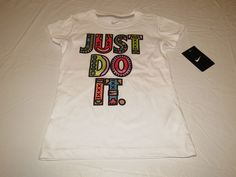 Nike active cotton t shirt youth girls 6X 36a101 001 white Just Do It NWT^^ #Nike