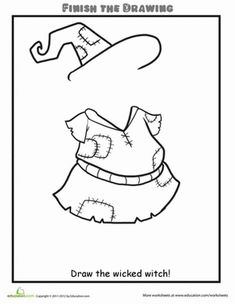 Second Grade People Worksheets: Finish the Drawing: Draw a Wicked Witch
