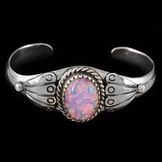 Vintage Southwestern Native American Navajo Signed Sterling Silver Cuff Bracelet with Foil Back Glass Cabochon