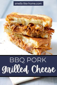 These bbq pulled pork grilled cheese sandwiches are a phenomenal way to use up leftover pulled pork! Perfectly buttered and toasted white bread hold this magnificent sandwich combination together. The Monterey Jack melts into the pulled pork just as it should, leaving you with sandwiches that you'll wish there were more of (though one certainly was plenty for lunch for us). Pork Recipes For Dinner, Delicious Dinner Recipes, Grilling Recipes, Lunch Recipes, Homemade White Bread, Leftover Pork, Grilled Cheese Recipes, Bbq Pork, Grilled Pork