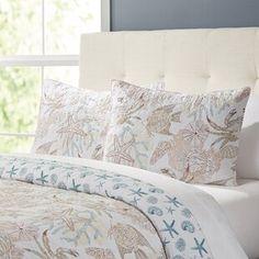 August Grove Spiritwood Lake Comforter Set | Birch Lane Nautical Bedding, Coastal Bedding, Coastal Bedrooms, Luxury Bedding, Coastal Quilts, Nautical Theme, Bedding Decor, Ocean Bedding, Ocean Bedroom
