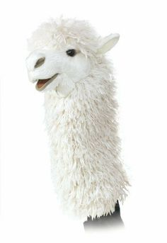 "Folkmanis Alpaca Stage Puppet by Folkmanis. $19.26. 9"" Long x 6"" Wide x 15"" Tall. Movable mouth. The fluffy fleeced Alpaca Stage Puppet has sweet and gentle features offset by woolly super-soft plush and wise eyes that say, ""I donâ?t need a sweater""! Alpaca Stage Puppet is 15"" tall"