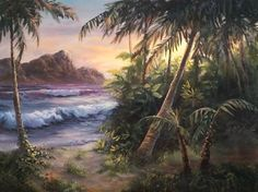 """""""Tropical Island"""" Oil Painting by Kevin Hill  Watch short oil painting lessons on YouTube: KevinOilPainting  Visit my website:www.paintwithkevin.com  Find me on Facebook: Kevin Hill Follow me on Twitter: @Kevin Hill"""