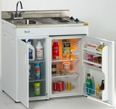 Kitchenette for Tiny House / Cabin / Cottage - sink, refrigerator, and stove in one! Would need small microwave and toaster oven for my family, but this is neat!