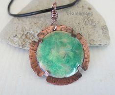 Handmade Enamel Copper Pendant Swirly Green and Gold Domed
