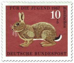 Kaninchen (Wildkaninchen), Briefmarke 1967